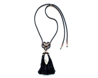 Long Tassel Necklace, Mother of Pearl Necklace, Shell Necklace, Mothers Day Jewelry, Black Fringe Necklace, Boho Necklace, Hippie Necklace