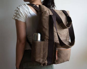 Wax Canvas Backpack, Diaper backpack tote, 9 Pockets, Laptop Backpack, Womens Backpack, Convertible backpack, Wax canvas bag Cocoa Brown bag