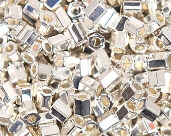 Seed Beads-11/0 Hexagon-961 Bright Sterling Plated-Miyuki-7 Grams