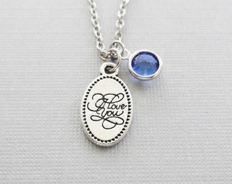 I Love You Necklace, Love Necklace, Valentine's Day, Gifts For Her, Birthday Gift, Silver Jewelry, Swarovski Channel Crystal Birthstone