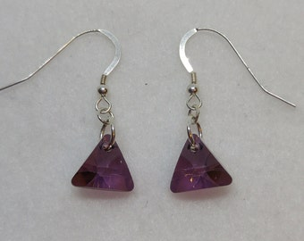 Sterling Silver Swarovski Crystal Lilac Shadow Triangle Earrings