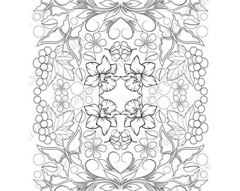 Adult coloring page, kaleidoscope, flower, butterfly, swirl, daffodil, grapes, olives.  Spring Flowers. PDF