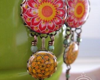 Mexican pottery design earrings, Boho earrings, dangle earrings, Chandelier earrings, Bohemian jewelry, ethnic earrings, Statement jewelry