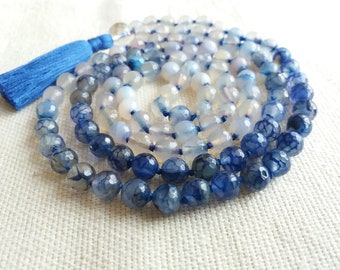Blue Agate 108 Mala Beads, Ombre Blue White Agate Long Necklace, Hand Knotted Meditation Prayer Beads, OOAK Necklace