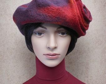 Béret rétro en laine feutrée, chapeau de femme laine mérinos, béret rouge aubergine fuchsia, automne, hiver, style retro, art à porter