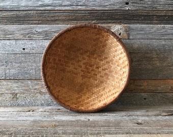 Vintage Woven Bamboo Basket, Storage Basket, Rattan Basket