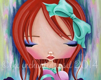 Art Print, Girls Room, Tori Amos, Redhead, Ribbons, Girls Wall Art, Heart, Beautiful Girl, Bow