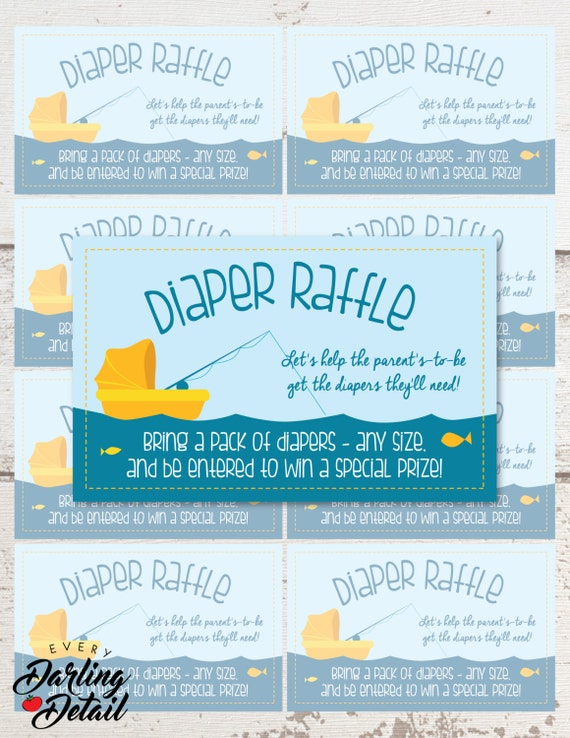 Diaper Raffle Insert Card Fishing Baby Shower Invitation