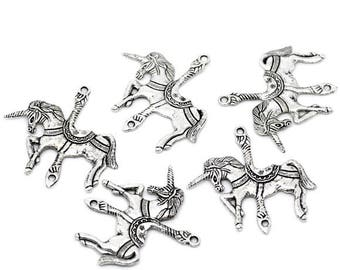 2 Antique Silver Metal Alloy Carousel Unicorn Pendants 45x43mm (B289a)