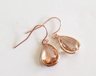Rose Gold Earrings, Champagne Glass Teardrop Earrings, Minimalist Earrings, Peach Glass Teardrops, Bridal Earrings, Bridesmaid Gift