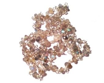 Rosary necklace unisex gray Labradorite-gray labradorite unisex Rosary necklace