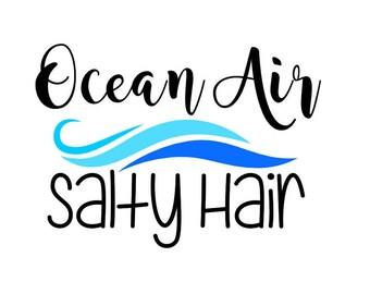 Ocean Air Salty Hair waves SVG/PNG/DXF