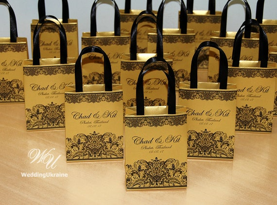 Gold Wedding Gift Bags For Small Souvenirs Personalized