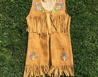 1970s Native American Beaded Long Vest - Medium Womens - Handmade - Buckskin - Hand Beaded - Rare - Authentic - Relic - Vintage Clothing -