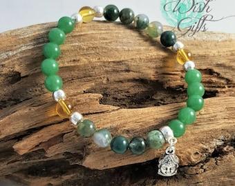Prosperity & Abundance Bracelet, fortune, Good Luck, Buddha Charm, using Moss Agate, Aventurine and Citrine Gemstones 6mm