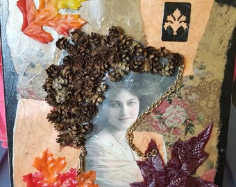Victorian Woman Pinecone Collage on Canvas