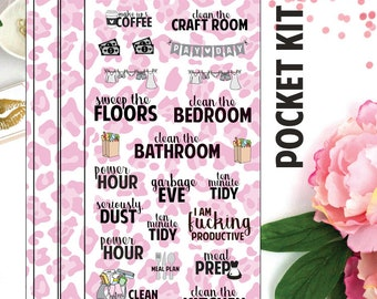 POCKET - Pink Leopard Pocket Kit - Functional Kit - Planner Stickers