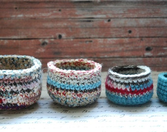 Handmade Crochet Basket Set of 4 Nesting Bowls OOAK Primitive Textile Art Country Home Decor Jewelry Dish Farmhouse Decor (B-007)