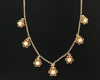 White Topaz 14K Gold Ladies Necklace