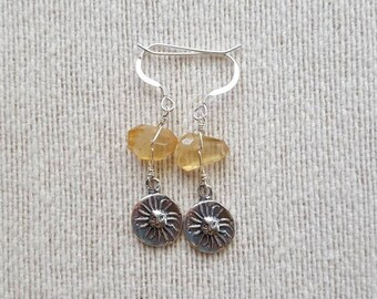 Citrine and Sun Dangle Earrings / Citrine / Sun / Dangle Earrings / Sterling Silver / Gift For Her / Sunshine