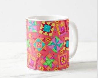 Quilt Block Art Mug, Colorful Multicolor Blocks on Red, Whimsy Original Quilt Art, Traditional and New Blocks, Original Quilt Art