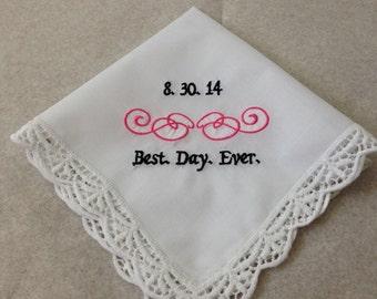Wedding handkerchief Best day ever