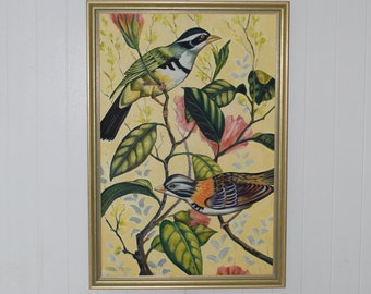 """Large oil painting """"Bullfinches"""" vintage frame/ birds"""