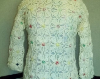 """Vintage 50's Women Sweater """"Cyn Les"""" Hand Knitted Sweater Mohair And Wool Blend 3/4 Sleeve  Free Shipping"""