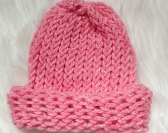 bubble gum pink baby beanie