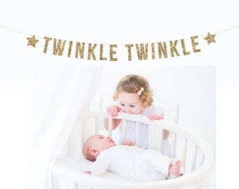 TWINKLE TWINKLE Banner. Photo Prop. Nursery Decor. Baby Shower. Photo Booth, Photobooth, Photo Prop