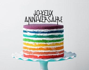 Happy birthday cake topper in plexiglas® - french words
