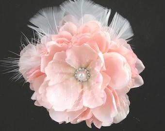 Pink Bridal Flower Hair  Clip Wedding Hair Clip  Wedding Accessory Peony Hair Clip Bridal Accessory
