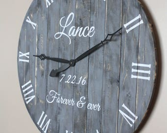 "Personalized Wood Wall Clock Round Gray Farmhouse Style  Sizing VARIES 18"" to 36"". reclaimed pallet or barn wood"