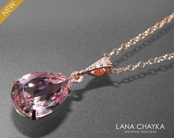 Light Amethyst Rose Gold Necklace Swarovski Light Purple Crystal Rhinestone Necklace Wedding Necklace Light Amethyst Teardrop Necklace