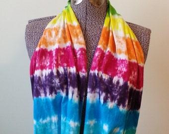 Tie Dye Infinity Scarf -- Rainbow Stripe!