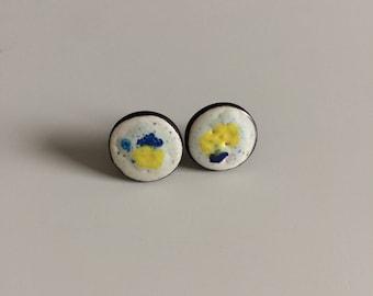 Stud Earrings, yellow, blue, round, ceramic, white stud earrings, blue, white, yellow, ceramic