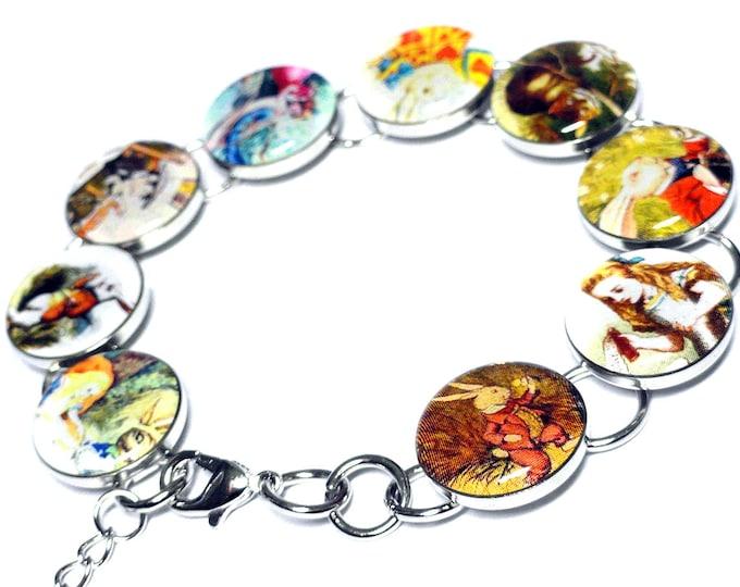 Alice in Wonderland Bracelet, Tea Party, The Mad Hatter, The White Rabbit, Vintage, Handmade Bracelet, Storybook Jewelry, Cheshire Cat