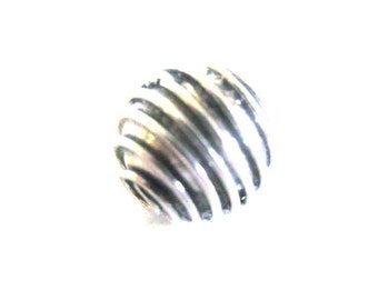 MS 10mm Wire Wrap Beads (2) Bali Sterling Silver Fair Trade