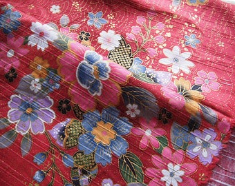 Wave and Japanese gold flowers dobby cotton fabric Red