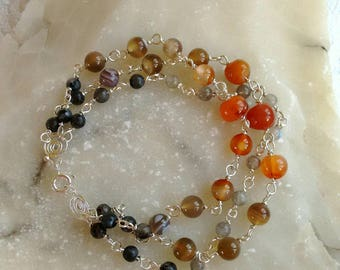 Gemstones bracelet - Smoky colors bracelet - Gray-Brown-Orange stones - crystals bracelet - ready-to-ship.