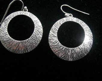 Native American Indian Textured, Oxidized Sterling Silver Hoop Earrings Signed by R Denetdale  #6
