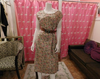 1960   Cotton House dress/ Plus/ Women within on tag/ retro/ pin up/Farm dress/  garden dress/