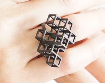 Cube System Ring - Minimal Geometric Jewelry - 3D Printed (Silver, Brass, Steel)