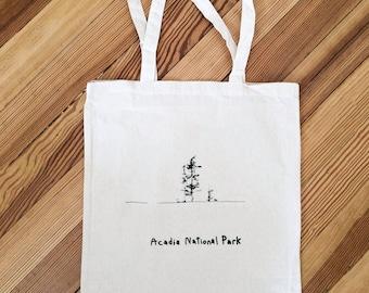 "Canvas Bag ""Acadia National Park"" screen printed illustration"