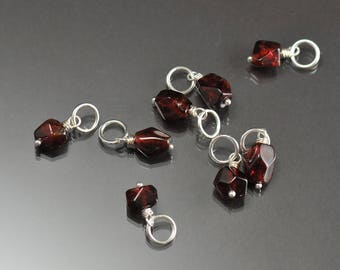 Garnet Nugget Charm, Interchangeable Charm Necklace, Cluster Charm, January birthstone
