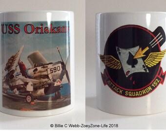 "11 oz Mug Set of ""2"" - USS Oriskany - Navy Air Craft Carrier - Vietnam - Military Memorabilia Mugs"