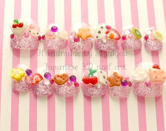 Nails, fake nails, kawaii nails, 3D nails, fake sweets, Harajuku, gift for girl, glittery, french nail, short nails, pop kei, sweet lolita,