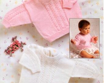 Baby girls 3 ply sweaters Knitting Pattern 99p pdf