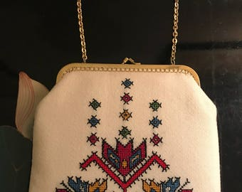 1960's - 70's cross stitched clutch evening bag