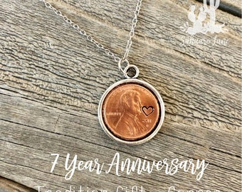 7th Wedding Anniversary Gift - Lucky Penny - Custom Hand Stamped Necklace - Anniversary Gift - Key Chain - Penny - Engraved - Custom Gift